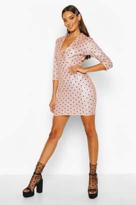 boohoo Polka Dot 3/4 Sleeve Blazer Dress