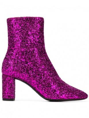 Saint Laurent Pink Glitter Ankle boots