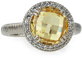 Judith Ripka Legacy Round Canary Crystal & Sapphire Ring, Size 7