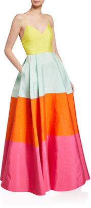 Alice + Olivia Lavelle Colorblock Deep-Pleated Gown