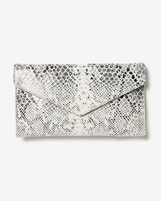 Express Snakeskin Textured Fold-Over Clutch
