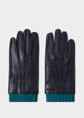 Men's Navy Deerskin Silk-Cashmere Lined Gloves
