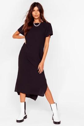 Nasty Gal Womens Slits Up to You Crew Neck Midi Dress - Black - One Size