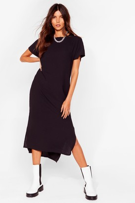 Nasty Gal Womens Slits Up to You Crew Neck Midi Dress - Black