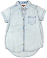 7 For All Mankind Sky Chambray Short-Sleeve Button-Up - Girls