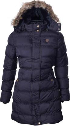 Brave Soul Womens Kylie Long Padded Jacket - Black/Black - 14 UK