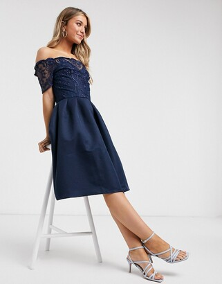 Chi Chi London lace bardot midi dress in navy