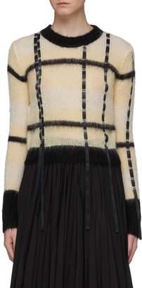 3.1 Phillip Lim Ribbon trim colourblock check sweater