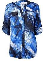 Calvin Klein Women's Printed Crew Neck Roll Sleeve, Blk/Slvr Lake Cksp 3572 A+