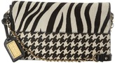 Badgley Mischka Kayla Haircalf Shoulder Bag (Black/Cream) - Bags and Luggage