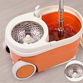 Huihong 360° Magic Spin Large Mop Bucket with Stainless Steel Spinner and Microfiber Rotating Dry Heads with 2 Heads