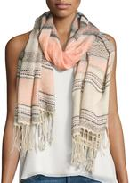 Neiman Marcus Turkish Towel Striped Scarf, Pink