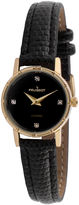 Peugeot Womens Gold Tone And Black Petite Leather Strap Watch 3050BK