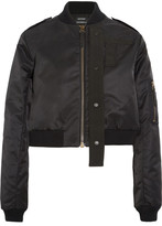 Anthony Vaccarello Canvas-trimmed Shell Bomber Jacket - Black