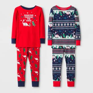 Cat & Jack Baby Boys' 4pc 100% Cotton Dino Pajama Set - Cat & JackTM Red/Blue