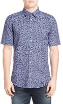 Diesel Extra Trim Fit Floral Print Short Sleeve Woven Shirt
