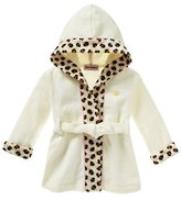 Juicy Couture Solid Robe with Leopard Print Trim