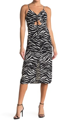 Topshop Molly Front Cutout Ruched Zebra Midi Dress