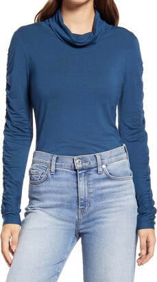 Halogen Draped Turtleneck Top