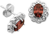 Lord & Taylor January Birthstone Garnet Cubic Zirconia and Sterling Silver Stud Earrings