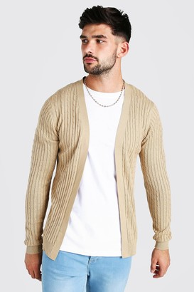 boohoo Mens Beige Long Sleeve Cable Knit Cardigan, Beige