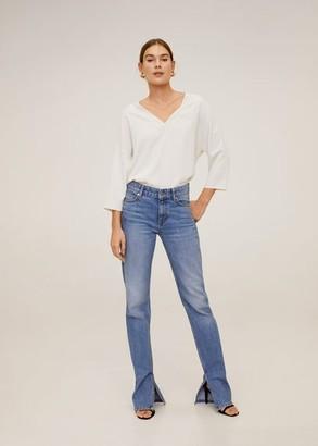 MANGO V-neck T-shirt ice grey - XS - Women