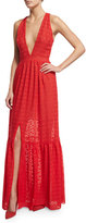 Sachin + Babi Sleeveless Plunging V-Neck Tiered Maxi Dress, Flame