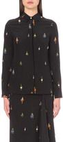 Victoria Beckham Swarovski crystal earring-print silk shirt