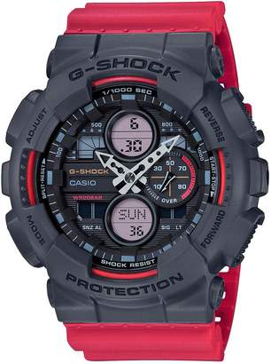 Casio G Shock Black and Red Detail Chronograph Dial Red Resin Strap Mens Watch