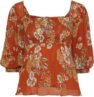 Nicholas Shirred Floral-print Silk-georgette Blouse