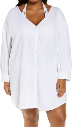Chelsea28 Oversize Button-Up Cover-Up