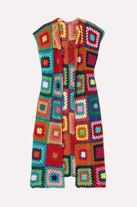 Rose Carmine - Patchwork Metallic Crochet-knit Cardigan - Red