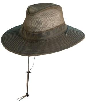 Dorfman Pacific Men's Weathered Big-Brim Mesh Safari Hat