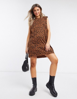 ASOS DESIGN padded shoulder sleeveless mini t-shirt dress in leopard print