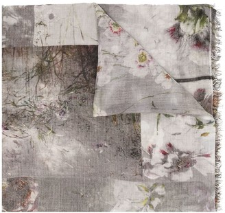 Faliero Sarti Floral-Print Fringed Scarf