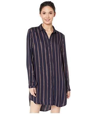 Bella Dahl Bridgeport Lurex Stripe Hidden Placket Classic Shirtdress