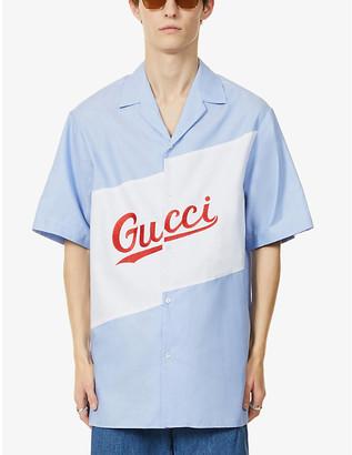 Gucci Brand-print oversized organic-cotton shirt