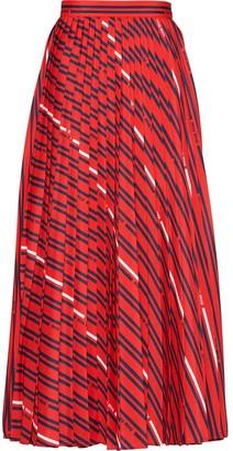 Miu Miu Logo Print Pleated Midi Skirt