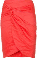 Nicole Miller gathered front skirt - women - Cotton/Nylon/Polyester/Metallic Fibre - 4
