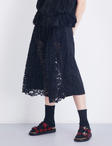 Sacai Cropped floral-lace gabardine trousers