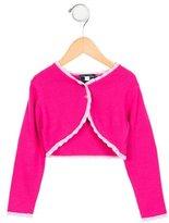 Oscar de la Renta Girls' Crochet-Trimmed Cropped Cardigan