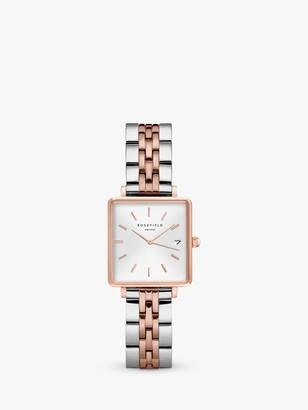 ROSEFIELD QMWSSR-Q024 Women's The Boxy Date Bracelet Strap Watch, Silver/Rose Gold