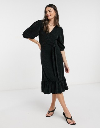 Y.A.S Scarlet puff sleeve glittery midi dress in black