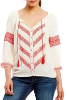 Lucky Brand Chevron Embroidered Button-Front Tassel Tie-Neck Peasant Top