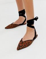 Asos DESIGN Lara ballet flats in leopard