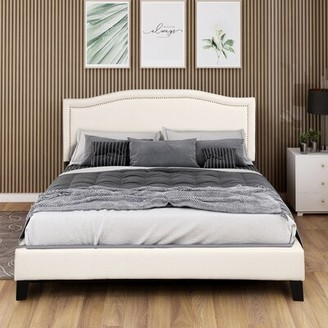 Trudeau Canora Grey King Upholstered Standard Bed Canora Grey Color: Beige