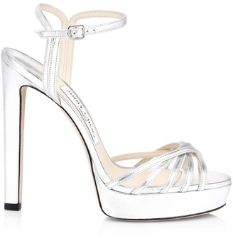 Jimmy Choo Lilah Platform Metallic Leather Sandals