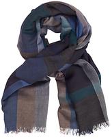John Lewis Lightweight Wool Blend Check Scarf, Blue