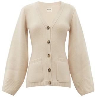 KHAITE Lucy Flared-sleeve V-neck Cashmere Cardigan - Cream