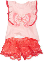Nannette 2-Pc. Butterfly Top & Lace Shorts Set, Baby Girls (0-24 months)